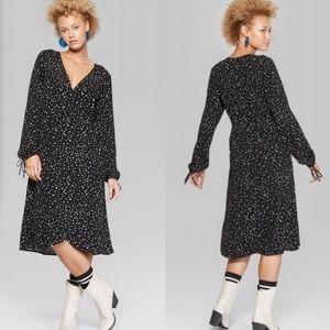 Wild Fable Star Print Midi Wrap Dress
